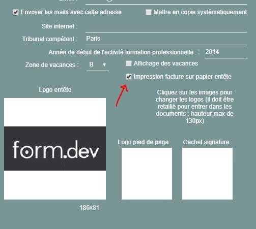Option permettant d'imprimer ses factures sur papier personnalisé