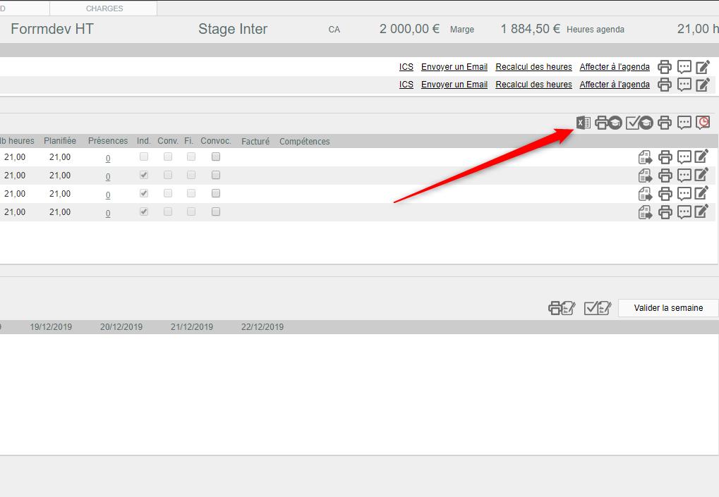 Exporter dans Excel une action de formaition