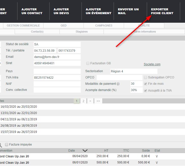 Export fiche client