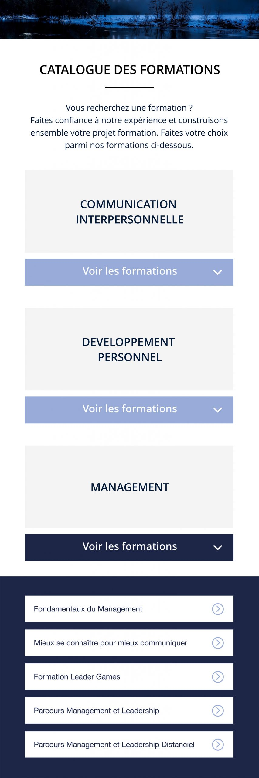 Catalogue formations smartphone