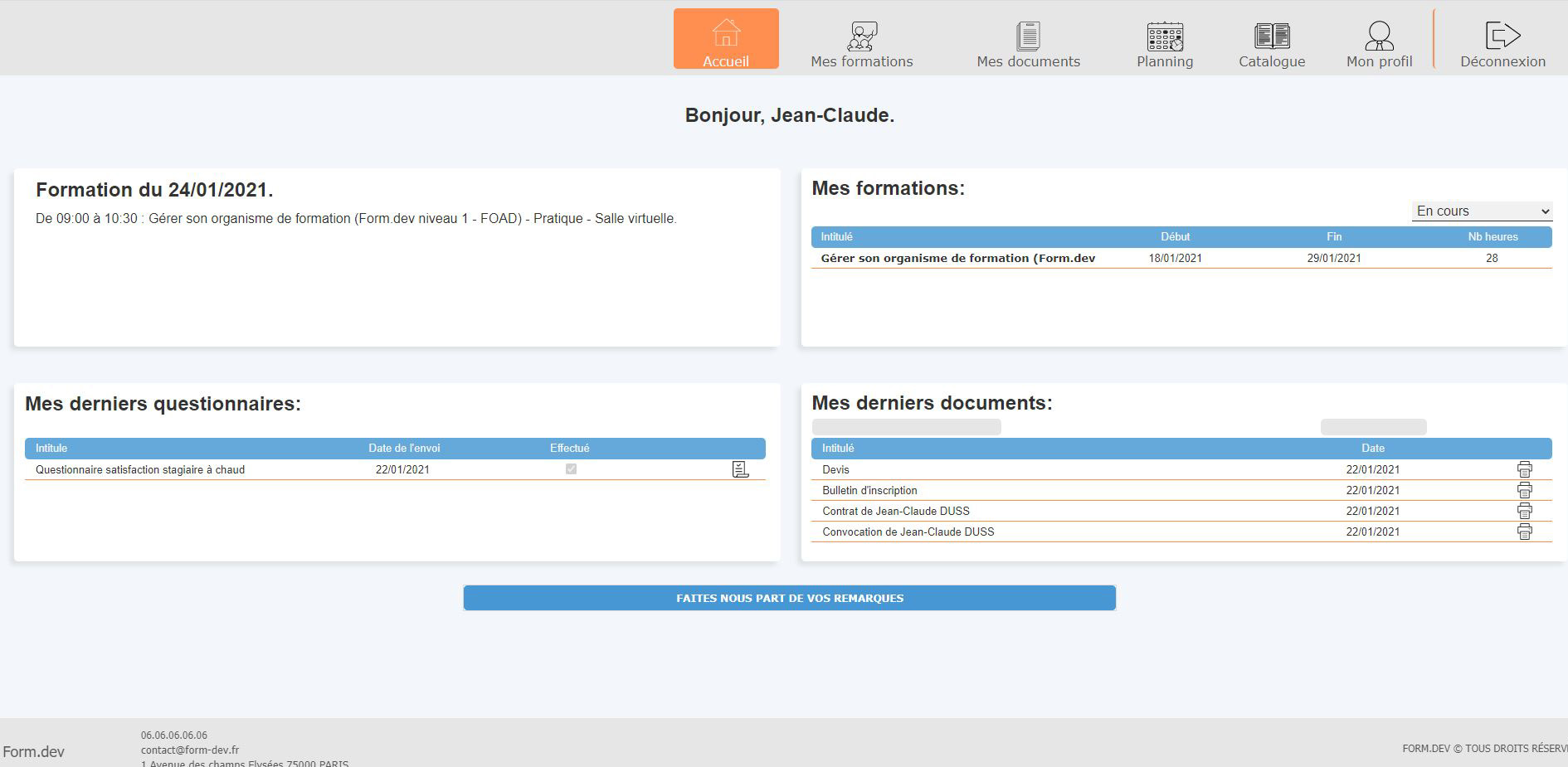 Page d'accueil extranet stagiaires
